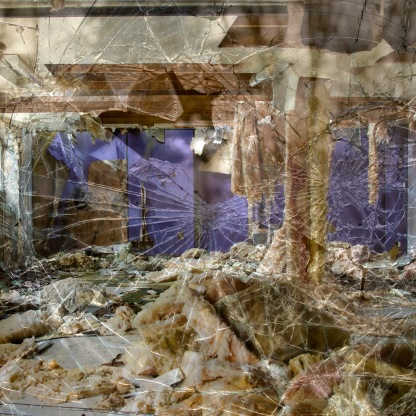 Double exposure cracked warehouse